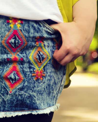 Simply Be Embroidered Denim Shorts